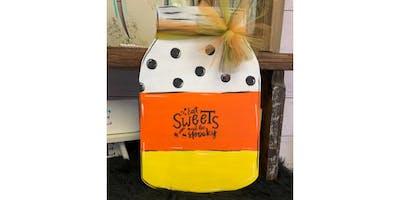 Eat Sweets and Be Spooky Mason Jar Door Hanger