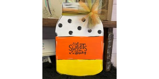 Eat Sweets and Be Spooky Mason Jar Door Hanger