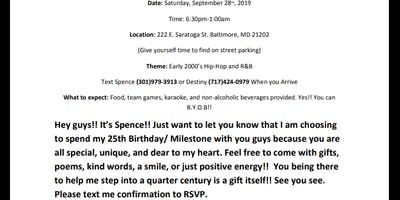 Spence's Private 25th Birthday