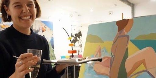 Art class and wine glass