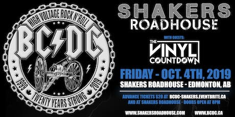 BC/DC Live at Shakers Roadhouse, Edmonton AB - Friday October 4th, 2019. tickets