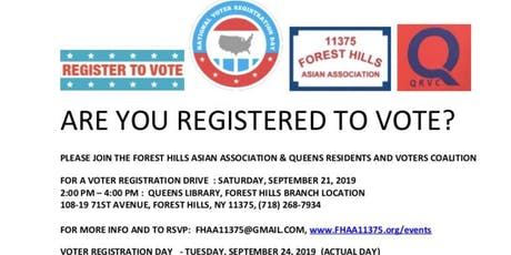 FHAA Voter Registration Drive - 9.21.2019, 2pm, FH Library tickets