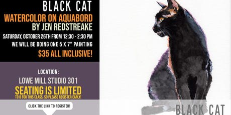 Watercolor on Aquabord with Jen Redstreake:: Black Cat! tickets