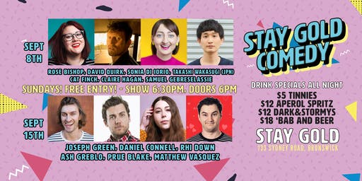 Free Comedy Sundays @ Stay Gold, Brunswick!