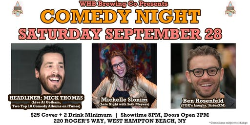 Comedy Night w/ Mick Thomas from Live At Gotham @ WHB Brewing Co