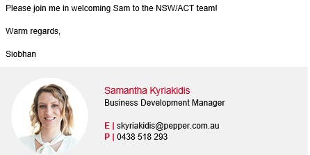Introduction to your new Pepper BDM Samantha Kyriakidis