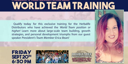 RESERVE VIP SEATING  & WORLD TEAM TRAINING -  SEPTEMBER STS