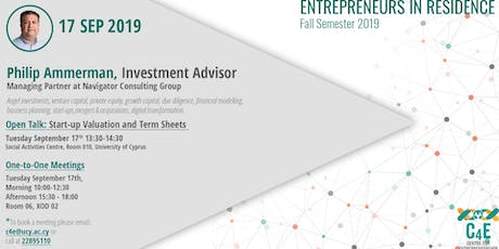 'Start-up Valuation and Term Sheets'  Philip Ammerman - EiR 2019 tickets
