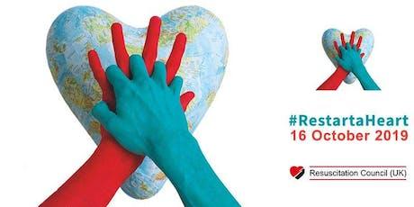 Free CPR & Defibrillator training drop in for Restart a Heart day 2019. tickets