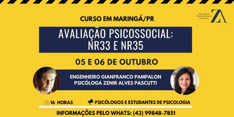 CURSO DE AVALIAÇÃO PSICOSSOCIAL: NR33 E NR35 ingressos