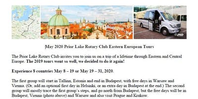 May 2020 Prior Lake Rotary Club Eastern European Tours. 8 countries.