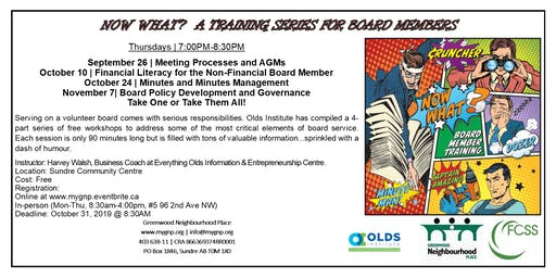 NOW WHAT! Training Series For Board Members (Policy Development & Governance)