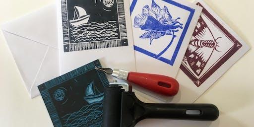 Lino Printed Greeting Cards