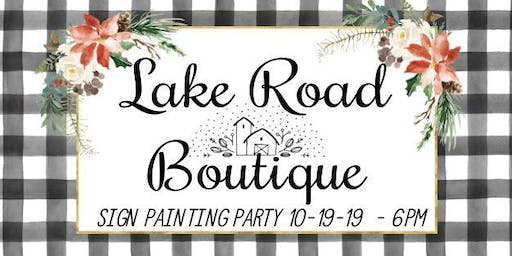 Sign Painting Party Class October 19th 6pm