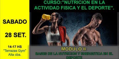 Curso: Nutricion en la actividad física y el deporte boletos