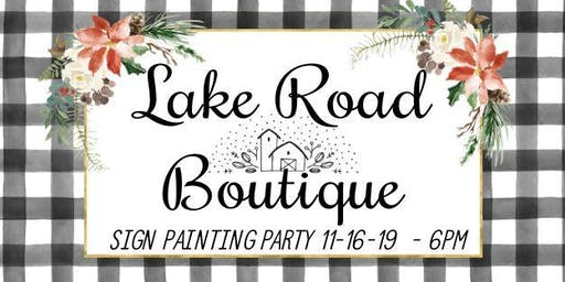 Sign painting party Nov 16th at 6pm any design