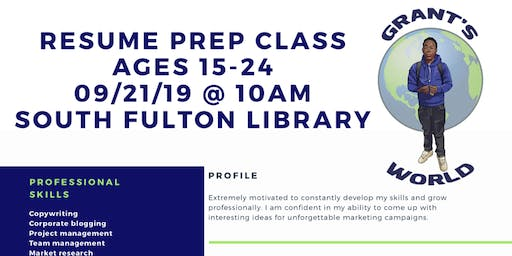 Youth Resume Preparation Class  Ages 15-24