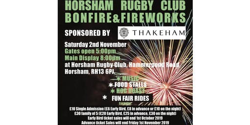 Horsham Rugby Club Fireworks & Bonfire Night - Saturday 2nd November