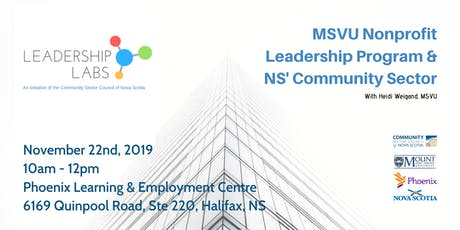 Leadership Lab:  MSVU Nonprofit Leadership Program & NS' Community Sector tickets