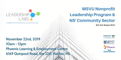 Leadership Lab:  MSVU Nonprofit Leadership Program & NS' Community Sector