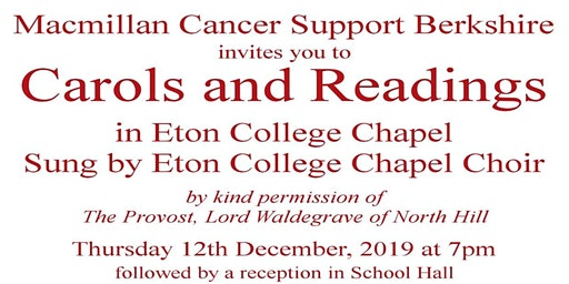 Carols and Readings at Eton College Chapel in aid of Macmillan Cancer Support