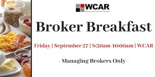 Brokers Breakfast -WCAR Managing Brokers Only-