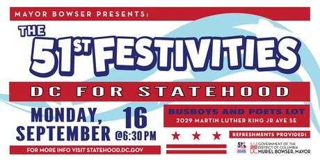 Mayor Bowser Presents the 51st Festivities: DC for Statehood (3rd Event) tickets
