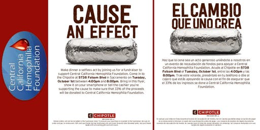 Fundraiser at Chipotle for Central California Hemophilia Foundation (CCHF)