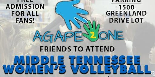 MTSU  Volleyball Game and Clinic: Agape2one