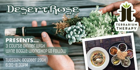 3 Course Dinner and Wine Bottle Succulent Workshop tickets