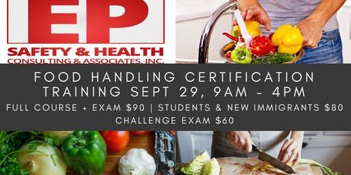 Food Handling Certification Training September 29