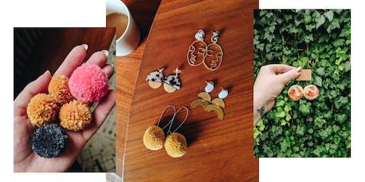 Make Pom Pom and Brass Earrings