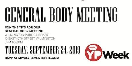 September General Body Meeting tickets