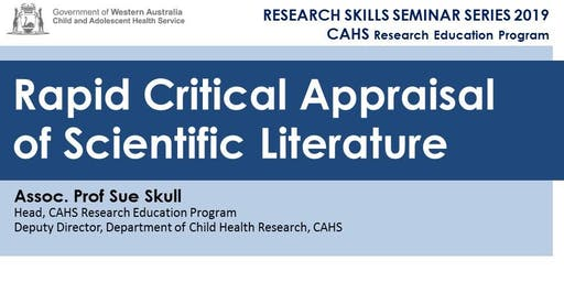 Research Skills Seminar: Rapid Critical Appraisal of Scientific Literature - 20 September