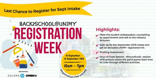 BACK2SCHOOL@UNIMY: REGISTRATION WEEK