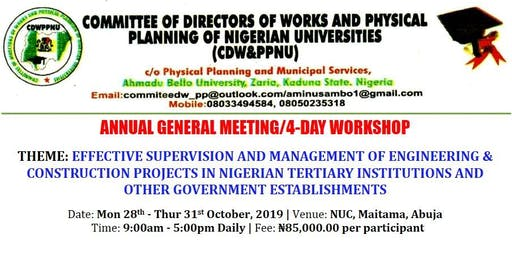 CDW&PPNU 2019 ANNUAL GENERAL MEETING/4-DAY WORKSHOP
