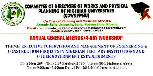 CDW&PPNU 2019 ANNUAL GENERAL MEETING/4-DAY WORKSHOP