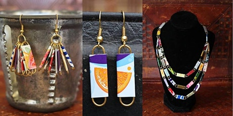 Upcycled jewellery making from drink cans tickets
