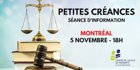 Séance d'information gratuite: PETITES CRÉANCES billets