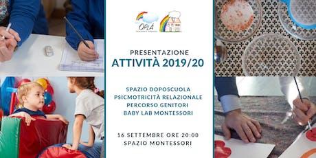 Presentazione attività per bambini 2-13 anni Spazio Montessori Oplà biglietti