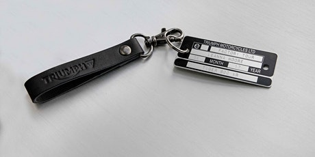 DECEMBER 2019 Triumph Personalised VIN Plate Keyring (keyring only, tour NOT included) tickets
