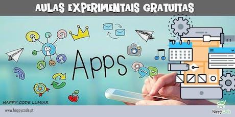 Aula Experimental de Programação de Apps (7-12 anos) bilhetes