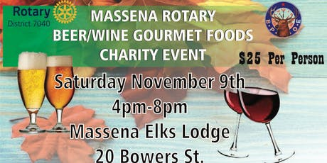 Massena Rotary Beer/Wine Gourmet Food tickets