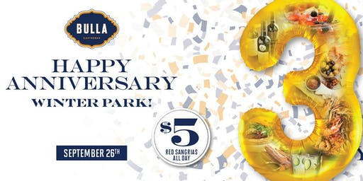 3-Year Anniversary Party at Bulla Winter Park!
