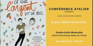 """Conférence-Atelier """"Ce que l'Argent dit de vous""""..."""