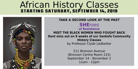 Sankofa African History Class - Sheroes of Resistance tickets