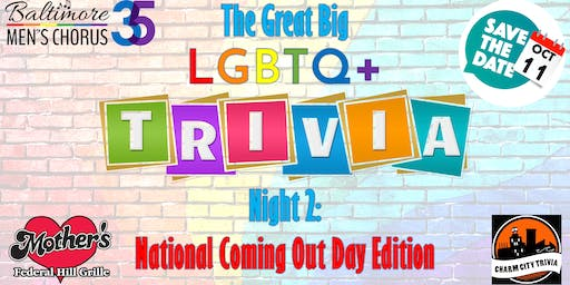 The Great Big LGBTQ+ Trivia Night 2: National Coming Out Day Edition