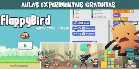 Aulas Experimentais de Programação de Jogos (7-12 anos) bilhetes