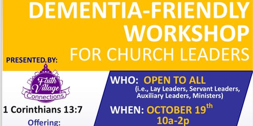 Dementia-Friendly Workshop for Church Leaders @  Central UMC Atlanta
