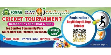 3rd Annual  Bay Malayali  Cricket Tournament in partnership with FOMAA tickets